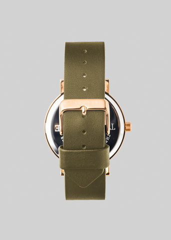 Polished Rose Gold / Black Face / Olive Band