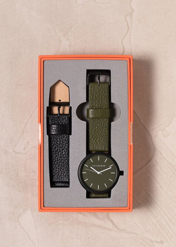 The Original Gift Box: Matte Black/Olive & Black Leather
