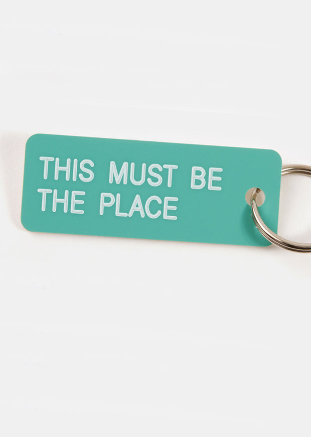 This Must Be The Place Key Tag Aqua/White