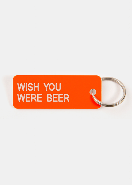 Wish You Were Beer Key Tag Neon Orange/White