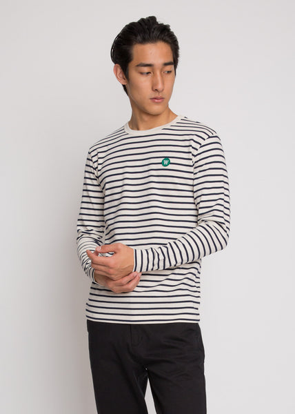 Mel Long Sleeve Tee Off White/Navy Stripes