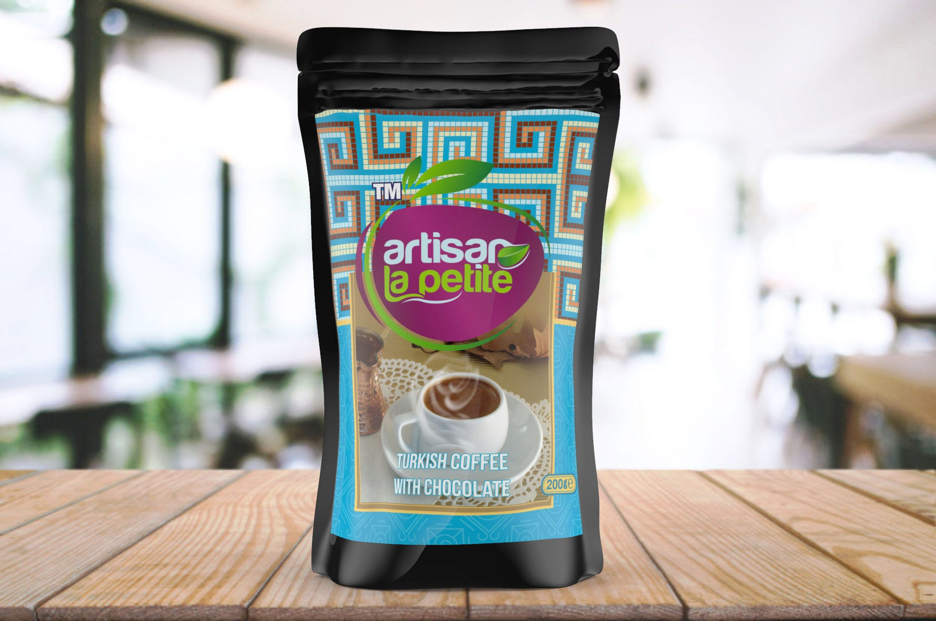 Artisan La Petite Turkish Coffee with Chocolate 200g / 7.05oz Doypack | Premium Fine Ground Arabica Coffee, Medium Roast, Authentic Turkish Specialty, Fresh Roasted, Non-GMO, Vegan, Halal