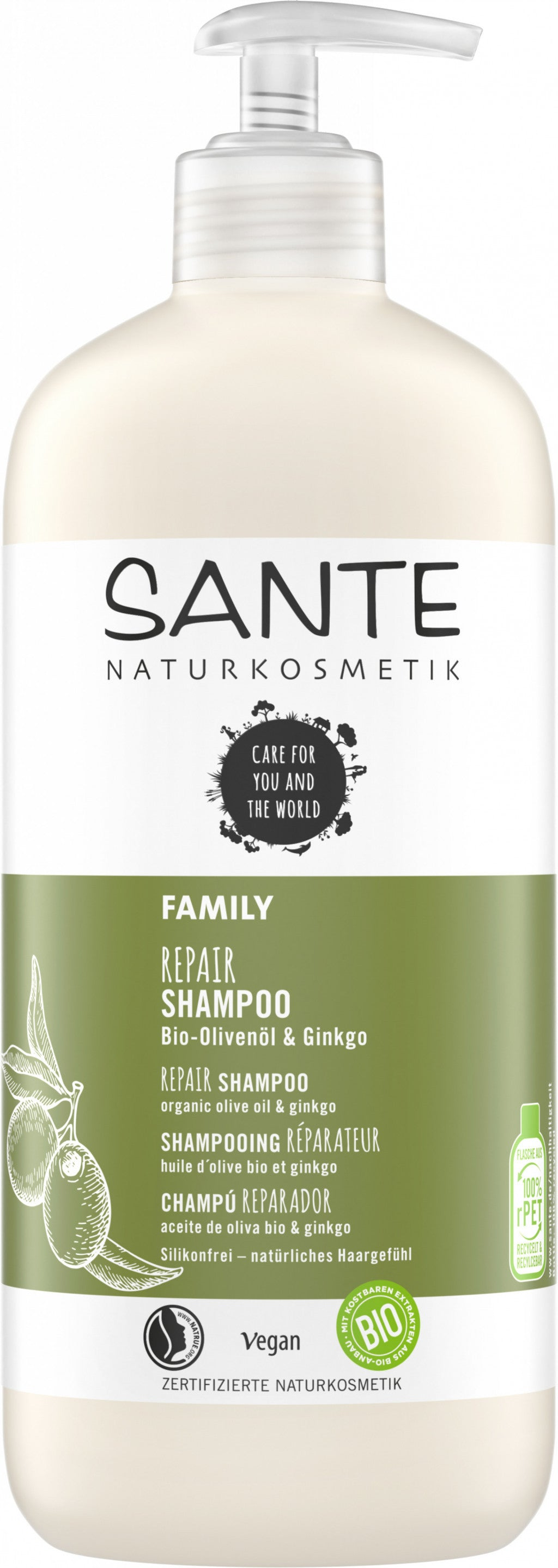 Repair Shampoo Organic Olive Oil & Ginkgo, 500 ml