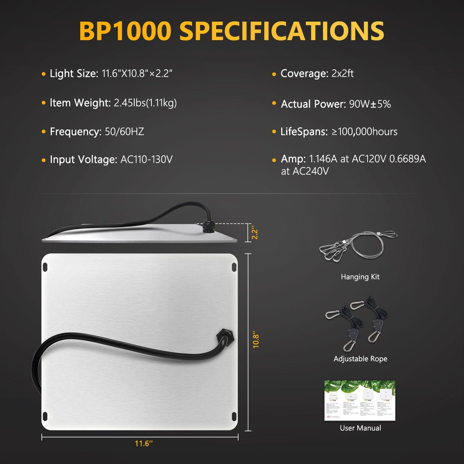 Bloom Plus BP 1000W LED Grow Light Full Spectrum for Indoor Plants Grow All Stages Samsung Diodes - Epicledgrowlight