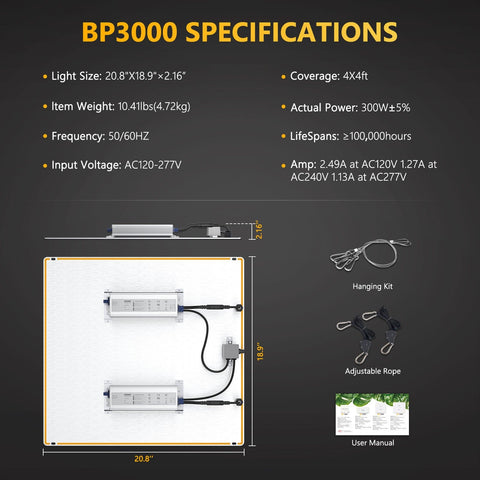 Bloom Plus BP 3000W LED Grow Light Sunlike Full Spectrum For Indoor Plants Grow 4'x4'(120x120cm) - Epicledgrowlight