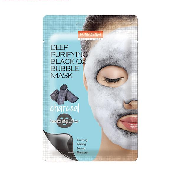 Deep Purifying Black O2 Bubble Mask (1 Sheet) PUREDERM Charcoal