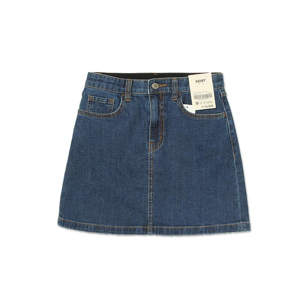 A Line Hidden Denim Skirt