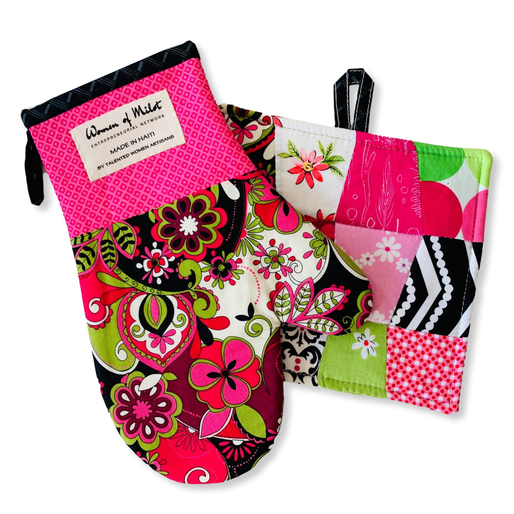 Claudine Pot Holder & Oven Mitt Set
