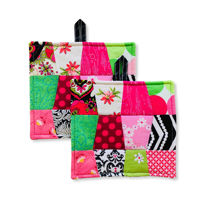 Claudine Pink Black Green Potholders:  Handmade in Haiti by women artisans