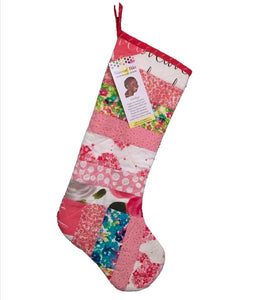 Quilted Christmas Stocking  in Pink