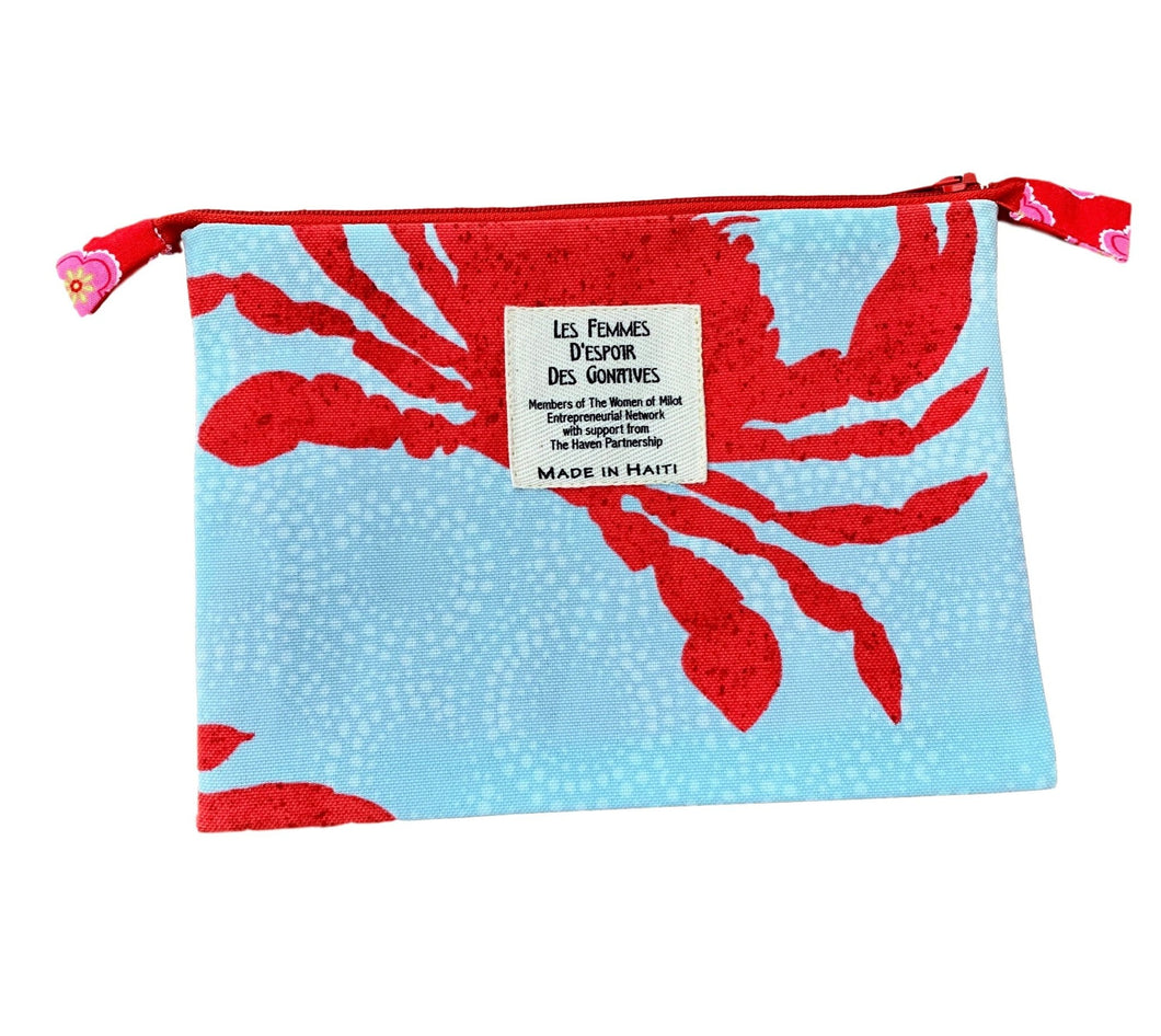 Red Crab Zip Pouch