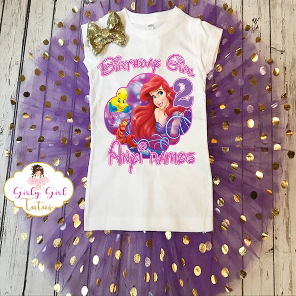 Ariel Princess Birthday Shimmer Tutu Outfit Party Dress Set