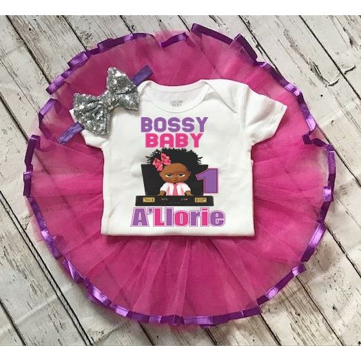 Boss Baby 1st and 2nd Birthday Tutu Outfit Set for Baby Girl