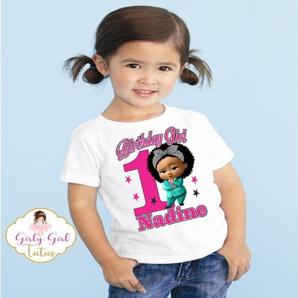African American Girl Boss Baby Birthday T shirt