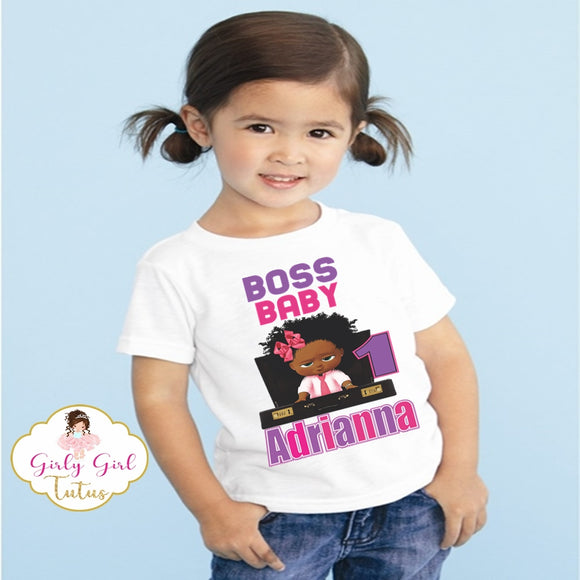African American Boss Baby Birthday T Shirt