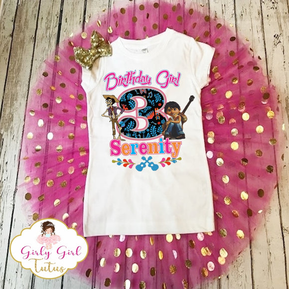 FREE SHIPPING,Pink  Personalized coco birthday bodysuit Coco birthday tutu outfit,Birthday Girl COCO Birthday tutu outfit