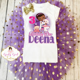 Doc Mcstuffins Customized Birthday Shimmer Tutu Outfit for girls