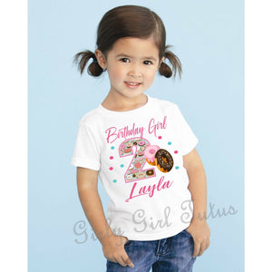 Donut Girl Themed Birthday T Shirt Personalized