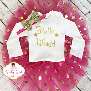 Hello World Baby Girl Take Home Outfit Glitter