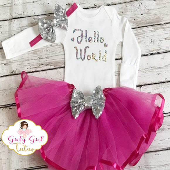 Pink Baby Girl Take Home Outfit Set - Silver Glitter