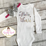 hello world baby girl onesie