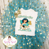 Princess Jasmine Birthday Tutu Outfit Party Dress Set- Jasmine T Shirt