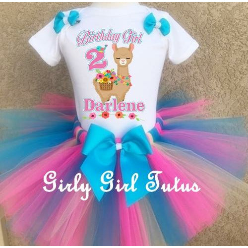 Llama Personalized Birthday Tutu Outfit Set - Llama Birthday Girl Shirt