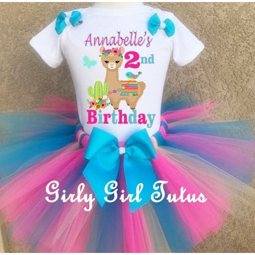 Llama Birthday Girl Tutu Outfit Set - Llama Birthday Shirt Set