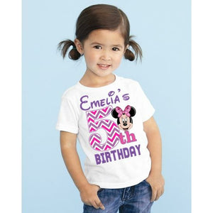 Minnie Mouse Chevron Number Birthday T shirt Custom Add Name