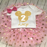 minnie mouse 2nd birthday outfit gold glitter pink