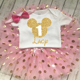 Minnie Mouse 1st and 2nd Gold and Pink Glitter Birthday Outfit