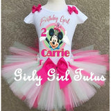 Minnie Mouse Mint Green Pink Birthday Tutu Outfit Set