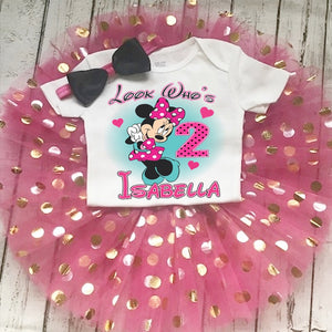 Minnie Mouse Hot Pink Teal Birthday Tutu Outfit Dress Set