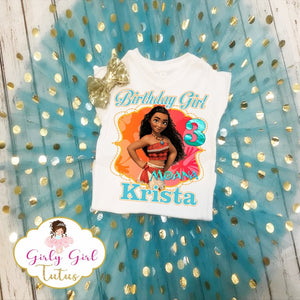 Moana Girls Personalized Birthday Glitter Tutu Outfit Party Set
