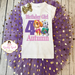 Paw Patrol Personalized Birthday Shimmer Tutu Outfit For Girls
