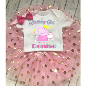 Peppa the Pig Custom Pink Birthday Tutu Set