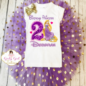 Rapunzel Personalized Birthday Tutu Outfit Party Set for Girls