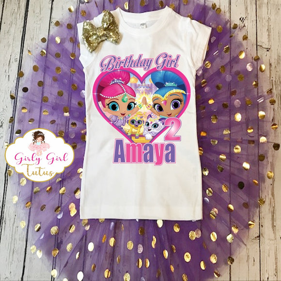 Shimmer and Shine Gold Shimmer Birthday Tutu Outfit Set
