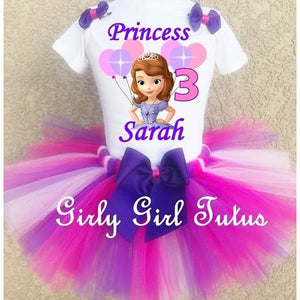 Sofia the first Customized Pink Purple Birthday Outfit