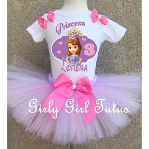 Sofia the first Personalized Pink Birthday Tutu Outfit