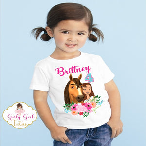 Spirit Riding Free Personalized Birthday T Shirt for Girls