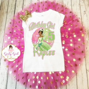 Tiana Princess Personalized Birthday Tutu Outfit Shimmer Set
