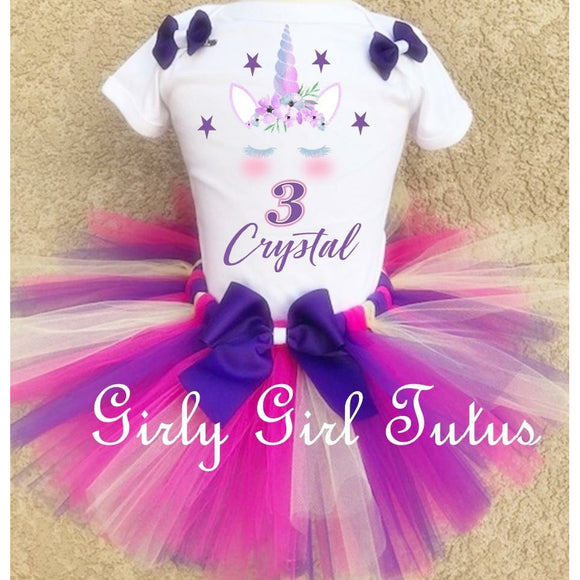 Unicorn Custom Birthday Tutu Outfit Set Dress