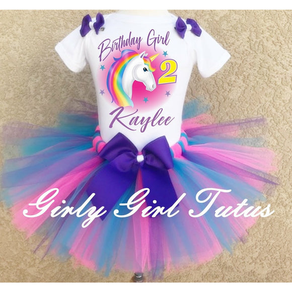 Unicorn Girl Personalized Birthday Tutu Set Outfit