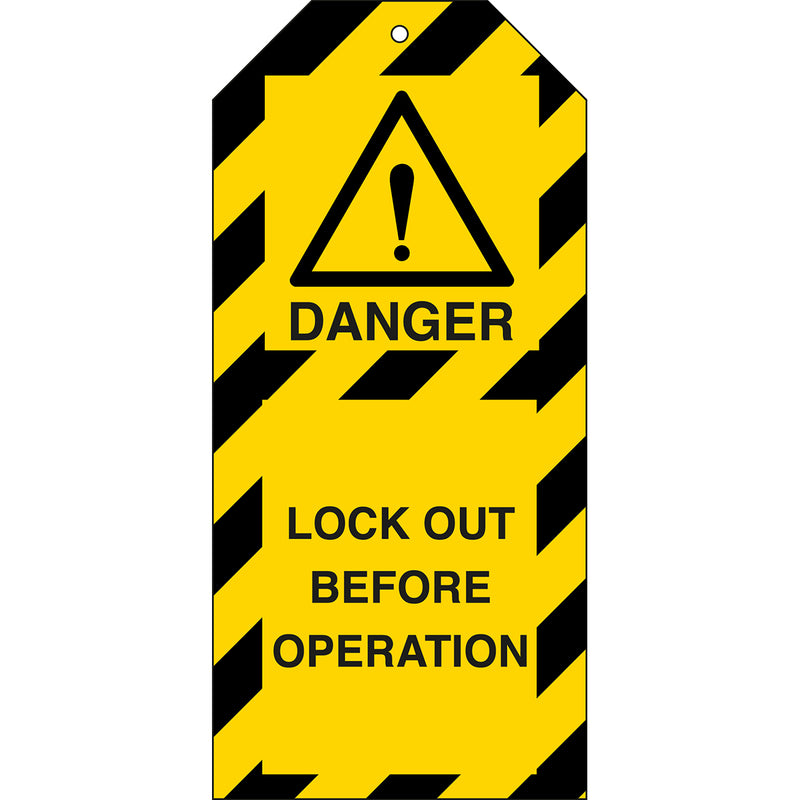 Tagout: Warning Tags - LOCK OUT BEFORE OPERATION