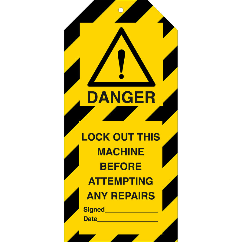 Tagout: Warning Tags - LOCK OUT THIS MACHINE BEFORE