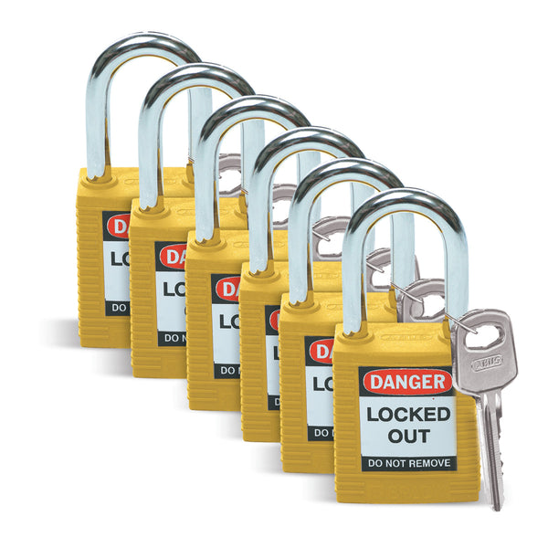 Safety Padlocks - Standard Steel Shackle 71/40 (6 PACK) YELLOW KD