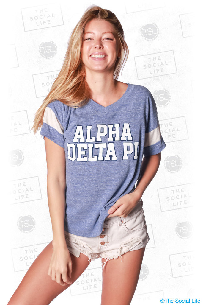 Alpha Delta Pi Athletic Block Letter Tee