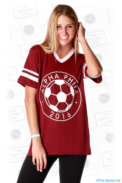 "Alpha Phi ""Alpha Phifa"" Striped Sleeve Jersey"