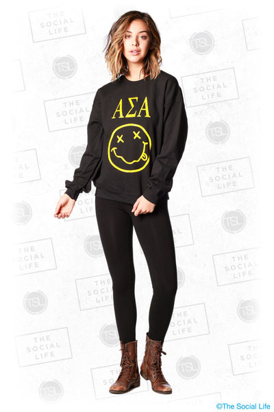 Alpha Sigma Alpha Smiley Crewneck